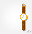 gold watch with leather strap vector image