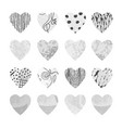 gray set with hearts shape for valentine day vector image