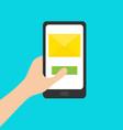 hand holding smartphone genering tablet gadget vector image
