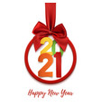 happy new year 2021 round banner with red ribbon vector image vector image