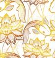 Ink hand drawn golden koi seamless pattern vector image