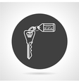 Key with tag black round icon vector image