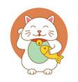 maneki neko lucky cat kitten icon flat web sign vector image
