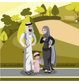muslim family standing in the park vector image vector image