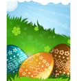 Painted Easter eggs in the grass vector image vector image