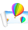 paper with air balloons in the sky vector image vector image