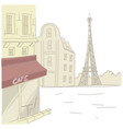paris street with cafe and eiffel tower vector image