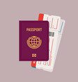 passport and boarding pass tickets vector image