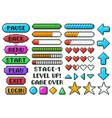 pixel game menu buttons game 8 bit ui controller vector image
