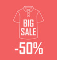polo shirt on a red background with a big sale and vector image vector image