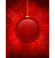 red glass christmas bauble on a glowing red backgr vector image vector image