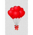 red hearts balloons bunch with ribbon vector image