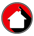 red round black shadow - white house with chimney vector image vector image