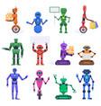 robot characters robotic mechanical humanoid vector image vector image