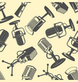seamless pattern with retro microphones in vector image vector image