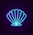 seashell neon label vector image
