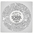 set school cartoon doodle objects symbols and vector image