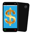 smartphone with dollar sign on interface vector image