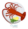 spiny lobster with rosemary and lemon on plate vector image vector image