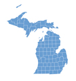 State map of Michigan by counties vector image