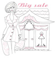 Stylish girl shopping doodle vector image vector image