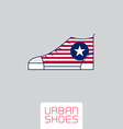 Stylized sneakers with American flag colors and vector image vector image