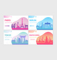 travel tourism concepts set cartoon cityscape vector image