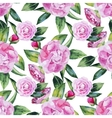 Watercolor camellia seamless pattern vector image vector image