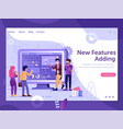 web site new features presentation flat concept vector image