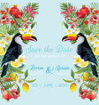 wedding card with tropical flowers fruits toucan vector image vector image