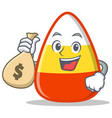 with money bag candy corn character cartoon vector image vector image