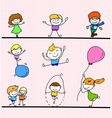 set of hand drawing cartoon happy kids playing vector image