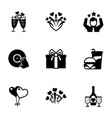 9 party filled icons set isolated on white vector image vector image