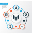 audio icons set collection of earmuff cd vector image vector image