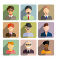 avatars business man flat icons set isolated on vector image vector image