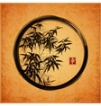Bamboo trees in black enso zen circle vector image