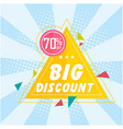 banner big discount 70 off triangle image vector image vector image