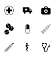 black medical icons set vector image vector image