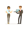 businesspeople standing and discussing ideas using vector image