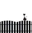 cat on the fence silhouette vector image vector image