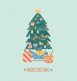 christmas and new year card with xmas tree and vector image