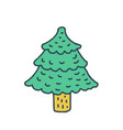 christmas tree drawing isolated fir cartoon style vector image