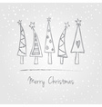 Christmas trees doodle vector image vector image
