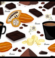cocoa seamless pattern pod beans cocoa butter vector image vector image