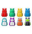 color sport backpack mockup different colored vector image