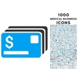 Credit Cards Icon with 1000 Medical Business Icons vector image