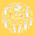cute rabbits spring day vector image vector image
