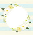 cute white cosmos flower wreath frame on vintage vector image vector image