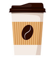 disposable white paper hot coffee cup with lid vector image vector image