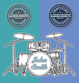 Drum Kit n Instructor Performer Stamps vector image vector image